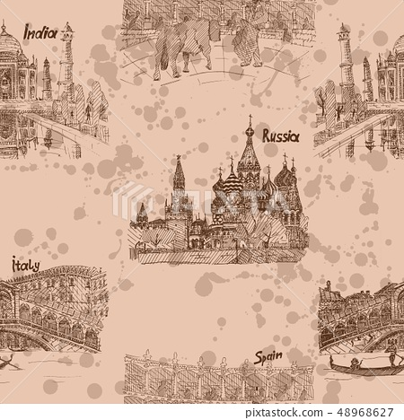 sketch drawing brown pattern travel countries 48968627