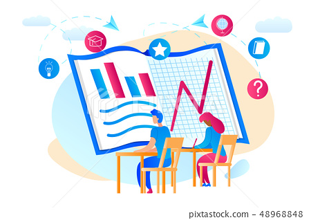 Students Watchig at Huge Notebook with Graphs 48968848