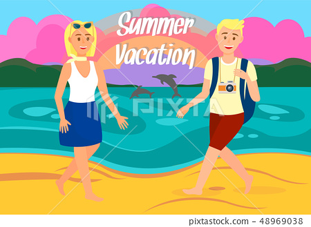 Summer Vacation Travel Postcard with Lettering