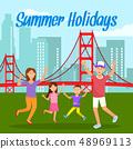 Summer Holidays Lettering Travel Postcard, Poster 48969113