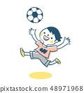 축구를하는 소년 핑크 48971968