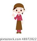 작무 · 앞치마 두건 유니폼 여성 가리키며 48972822