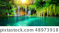 Waterfall landscape of Plitvice Lakes Croatia. 48973918