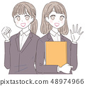 Business Woman Job Hunting Businessmen Two Young Women 48974966