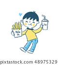 패스트 푸드를 먹는 소년 블루 48975329