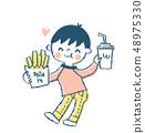 패스트 푸드를 먹는 소년 핑크 48975330
