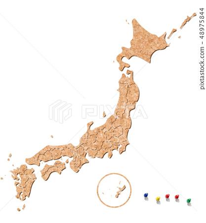 日本地圖的軟木和推針標記 48975844