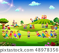 Happy children playing outside 48978356