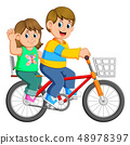 Happy couple riding a bicycle 48978397