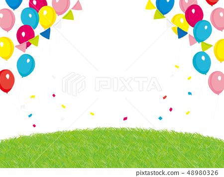 事件背景例證氣球和草 48980326