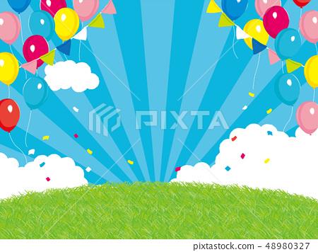 事件背景例證藍天和草氣球 48980327