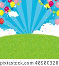 이벤트 배경 일러스트 푸른 하늘과 잔디 풍선 48980328
