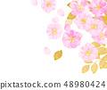 벚꽃 수채화 풍의 질감 48980424