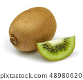 Fresh kiwi fruit and slice isolated on white 48980620
