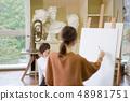 ศิลปะ Atelier คนกำลังวาดรูป 48981751