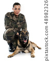 woman soldier and malinois 48982326