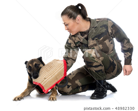 woman soldier and malinois 48982330