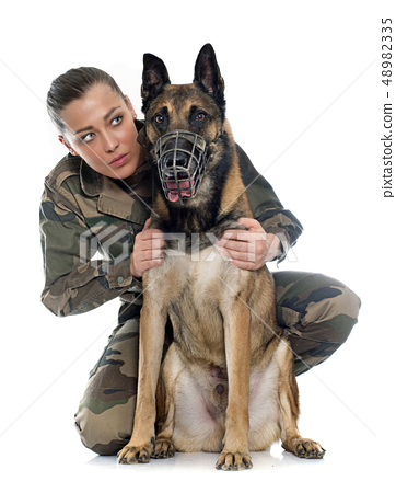woman soldier and malinois 48982335