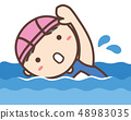 Girl in a school swimsuit swimming in a crawl 48983035
