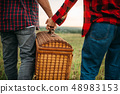Love couple with basket, picnic in summer field 48983153