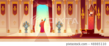 King greeting crowd from balcony cartoon vector 48985110