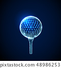 Abstract golf ball. Low polygonal style design. 48986253