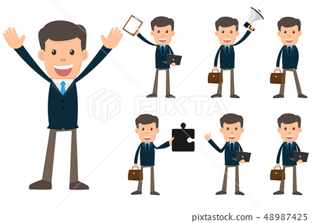 Collection set of Business man showing different 48987425