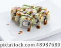Japanese food restaurant, sushi maki gunkan roll plate or platter set. Sushi set and composition 48987689