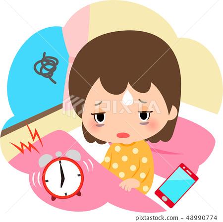 堅硬的女孩和智能手機在早上起床 48990774