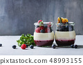 Panna cotta with berries 48993155