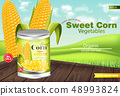 Sweet corn Vector realistic. Metal tin. Product 48993824