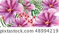 Tropic flowers Vector watercolor. Beautiful exotic 48994219