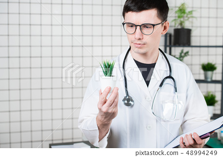 Scientist Conducts Experiments with a green Plant 48994249