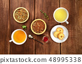 Tea tasting. Various cups of tea and leaves of loose tea with biscuits and jam 48995338