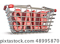 Steel shopping basket SALE sign 3D 48995870