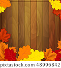 autumn leaves on a wooden background 48996842