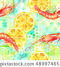 A seamless watercolor pattern with shrimps and lemons on a teal blue patchwork pattern, a fresh 48997465