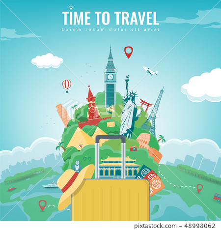 Travel composition with famous world landmarks. Travel and Tourism concept. Vector 48998062