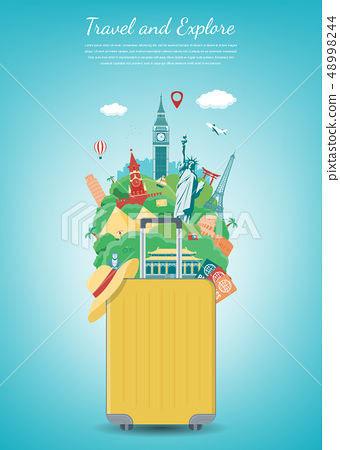 Travel composition with famous world landmarks. Travel and Tourism concept. Vector 48998244