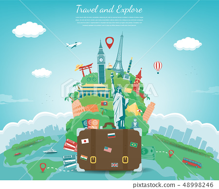Travel composition with famous world landmarks. Travel and Tourism concept. Vector 48998246