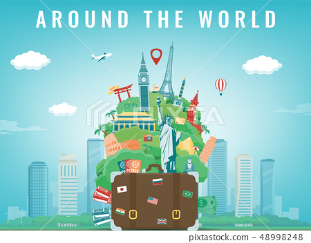 Travel composition with famous world landmarks. Travel and Tourism concept. Vector 48998248