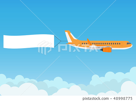 Flying airplane with advertising banner on blue  48998775