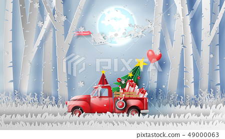 3D illustration of paper art Red Classic pickup 49000063