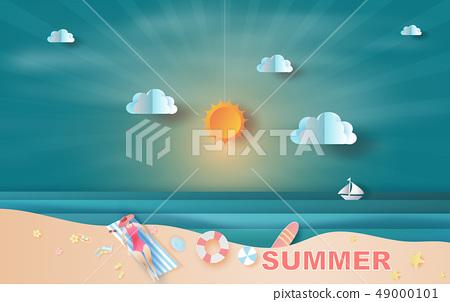 Paper art and craft of illustration summer sea 49000101
