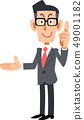 戴眼鏡的商人解釋在右邊的點 49001182