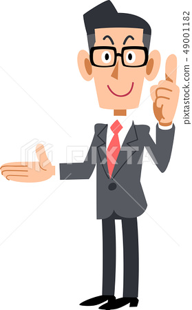 Businessman with glasses explaining the point on the right 49001182