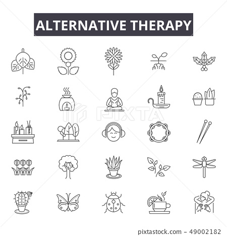 Alternative therapy line icons for web and mobile design. Editable stroke signs. Alternative therapy 49002182