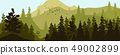 Vector illustration of panorama of silhouette of mountains and forest. Detailed alpine fir 49002899