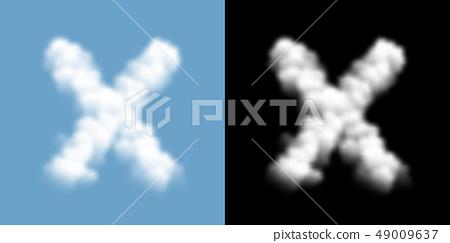 Alphabet uppercase set letter X, Cloud or smoke 49009637