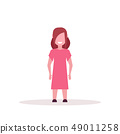 happy brownhair girl standing pose little child female cartoon character full length flat white 49011258